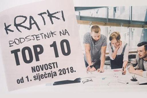 Kratki podsjetnik na top 10 novosti od 1.siječnja 2018.